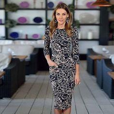 2015 nuevas mujeres del vestido desgaste estilo media manga del v-cuello elegante oficina vestido con bolsillos de la alta calidad de la rodilla longitud vestido