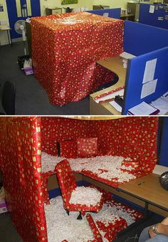 Dave leaves the office for a bit of a break. Santa leaves a present for him while he's away...