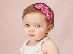 3 Flower Headband in Fuchsia Pink - Small Silk Ranunculus Flower Rhinestone on Skinny Elastic - Custom Sizes Newborn Baby Toddler Girl. $12.95, via Etsy.