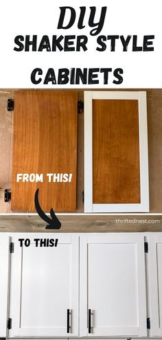 A step by step tutorial turning dated flat paneled cabinets into DIY shaker style cabinets. Get shaker inspired cabinets on a budget with this budget kitchen remodel. Farmhouse inspired kitchen cabinets are a focal point in your modern farmhouse kitchen. #ShakerCabinets #DIY Budget Kitchen Remodel, Kitchen On A Budget, Wooden Projects, Home Projects, Shaker Style Cabinets, Kitchen Cabinets, Modern Farmhouse Kitchens, I'm Happy, Furniture Makeover