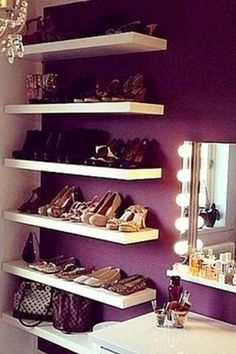 hang some floating shelves on a corner wall in your bedroom to store your shoes . hang some floating shelves on a corner wall in your bedroom to store your shoes -Small Bedroom Storage Ideas - Creative Storage Ideas for Small Bedrooms Bedroom Storage Ideas For Clothes, Bedroom Storage For Small Rooms, Small Apartment Bedrooms, Small Space Bedroom, Small Space Storage, Small Bedrooms, Bedroom Ideas, Bedroom Organization, Diy Bedroom