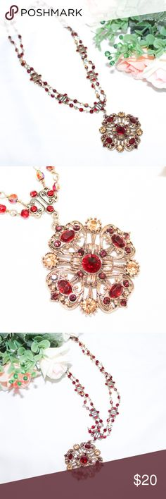Avon Vintage Beaded Pendant Necklace Vintage Avon Beaded Pendant Necklace. Beautiful red rhinestone pendant on beaded chain. Quality costume jewelry necklace. Good used condition. Some signs of wear and age, including a slightly more metallic smell. Avon Jewelry