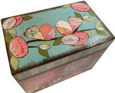 Caja de la receta 4 x 6 por encargo Decoupaged brillante audaz aves-esta caja es grande y elaborado a mano de madera