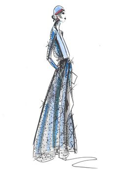 See how the sparkle is illustrated here....dd An Armani Privé sketch for spring.