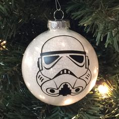 "Star Wars Storm Trooper Christmas Glitter Ornament 3.25"" Glass Ball"