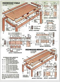 #1264 Outdoor Table and Bench Plans - Outdoor Furniture Plans