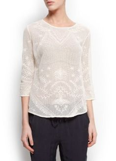 Mango Women's Embroidered Blouse, Neutral, M Neutral M MANGO. $49.99