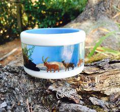 Nature Display Window Bangle Bracelet, unique resin jewelry designed by Oksana Bell by 50Kats on Etsy