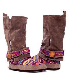 Brown Andrea Rockin Moroccan Slipper Boot | MUK LUKS