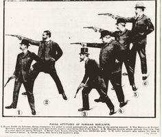 Firing attitudes of Parisian duelists (1909)