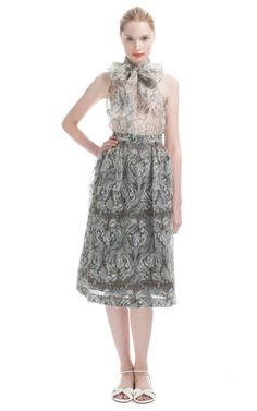 Honor Orchid Print Micro Sparkle Trim Skirt