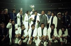 1. FC. Magdeburg celebrates their historic upset after unexpectadly beating AC Milan in the 1974 Cup Winner's Cup Final 2-0.