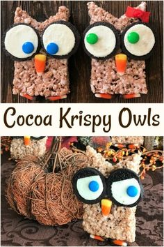 Cocoa Krispy Treat Owls - both a treat and a craft for Halloween Cocoa Krispy Owls -Cocoa Krispy Owls are Marshmallow treats made with Cocoa Krispies Cereal, and made into Halloween owls, using Oreo cookies, M&M's and Candy corn. Fun to make, fun to eat! Cocoa Krispie Treats, Cocoa Krispies, Rice Krispies, Cereal Treats, Halloween Owl, Halloween Treats, Fall Treats, Marshmallow Treats, Edible Crafts