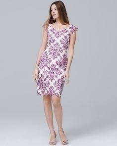 17fb4e4b1131 220 White House Black Market Printed Lace Sheath Dress Full Weave, Lace  Sheath Dress,