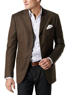 An exceptional jacket in Brown w/Orange Large Windowpane, JHilburn custom shirt and belt, with an AJ Jean and your business casual profile is sharp. Yvette.Najarro@jhilburnpartner.com