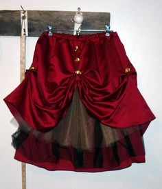 Upcycled Steampunk Gothic Victorian Style Skirt from an old bridesmaid dress.
