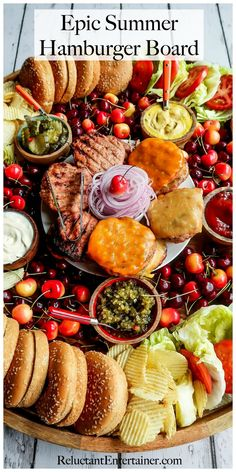 Epic Summer Burger Board Friends, building community isn't hard. Send that text, and make an invitation to host a summer gathering. Serve this Epic Summer Burger Board! Party Food Platters, Food Trays, Snack Platter, Hamburger Party, Summer Burgers, Appetizer Recipes, Dinner Recipes, Charcuterie And Cheese Board, Cheese Boards