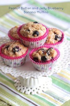 Peanut Butter and Jelly Blueberry Banana Muffins, great for after school snacks or weekend mornings!