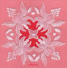 Fuchsia Parchment Birthday Card: Whitework parchment card - traced fuchsia pattern in white tinta ink onto parchment, embossed and mounted on red glitter board. Bargain Pergamano & Parchment
