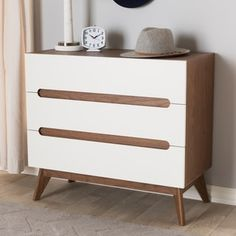 Shop for Mid-Century White and Walnut 3-Drawer Chest by Baxton Studio. Get free shipping at Overstock.com - Your Online Furniture Outlet Store! Get 5% in rewards with Club O! - 22328064
