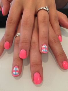 Pink with stripe and blue anchor accent nail #summercruisenials