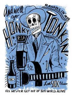 Carlos Hernandez Art - Day of the Dead Rock Stars >> El Hank Williams