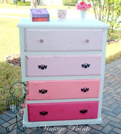 Pink Ombre Chest of Drawers  #upcycle #recycle #painted furniture
