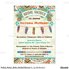 Super Cute and pretty Tribal, Aztec, Boho, Bridal Shower Invitations. Perfect for the shower!