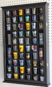 NEED this for my shot glass collection! Amazon.com: 56 Shot Glass Shooter Display Case Holder Cabinet Wall Rack w/ Glass Door - BLACK Finish: Kitchen & Dining