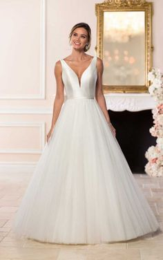 5d58594a5a44 6581 Simple Wedding Dress with V-Neckline by Stella York. Bridal Gown  Available at The Wedding Studio Greenwood