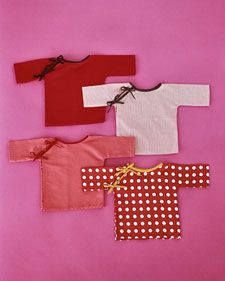 """Sewing Turtorial & Free Pattern (Template): Tie-closure tops for babies who don't like having clothes pulled over their heads. Pattern calls them """"kimonos,"""" but I'm not sure that's an accurate name for the style. Cheongsam or qipao might be more correct for the closure style. From Martha Stewart Baby, volume 6 (2002), and posted on www. marthastewart.com."""