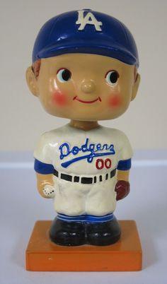 "1960 Los Angeles Dodgers Wood Base Bobble Head Nodder 6.5"" NM-MT Condition"