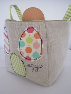 Easter egg Linen Easter basket-Please order by 12th March for Easter delivery