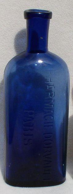 Antique Embossed Cobalt Pharmacy Bottles (French)