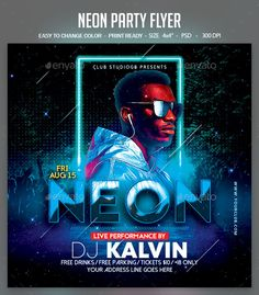 Neon Party Flyer. Professional club party flyer template. #flyer #design #printDesign #party #club #print #abstract #concert #ConcertFlyer #dark #dj #DjConcertFlyer #DjFlyer #DjTour #dubstep #edm #electro #elegant #event #grunge #GuestDj #light #minimal #minimalist #mixtape #music #MusicConcert #MusicEvent #neon #nightclub #podcast #red #spring #summer #urban Flyer Size, Concert Flyer, Print Design, Graphic Design, Photo Texture, Neon Party, Club Parties, Poster Designs, Party Flyer