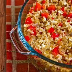 greek-inspired brown rice casserole with red pepper, onions and feta