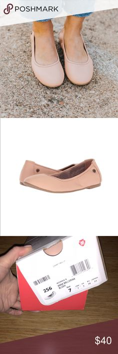 Blush Ballerina Flat New with box!  Size 7  Only selling because I have too many pink flats! These are adorable.   The Minnetonka® Anna is a beautiful and versatile must-have! Leather or fabric upper in a ballet flat silhouette. Easy slip-on style with an elastic topline for a comfortable and flexible fit. Soft fabric lining feels great against the foot. Lightly cushioned footbed for all-day comfort. Treaded rubber outsole for a pleasurable walking experience. Imported. Measurements: Heel…