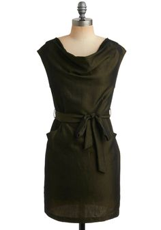 Olive Branch Out Dress - Green, Solid, Bows, Pockets, Wedding, Party, Casual, Sheath / Shift, Sleeveless, Spring, Short