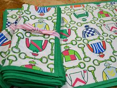 """Derby placemats, $55 for a set of 4 and napkins, $45 for a set of 4. Both at <a href=""""http://www.digshomeandgarden.com/"""" target=""""_blank"""">Digs</a>."""