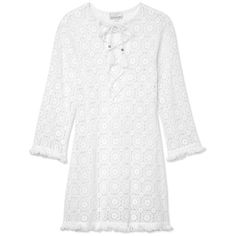 Miguelina Serena Crochet Caftan (5.715 ARS) ❤ liked on Polyvore featuring tops, tunics, dresses, white, white top, lace up top, kaftan tunic, caftan tunic and cotton caftan