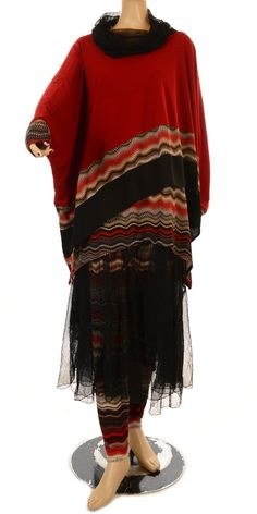 Jean Marc Philippe New Season Red & Black Two Piece Tunic & Overlay Top- I want this!