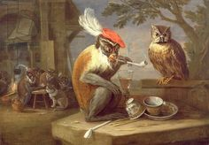 A monkey smoking and drinking with an owl, Kessel, Ferdinand van (1648-96) / Private Collection / Photo © Rafael Valls Gallery, London, UK / Bridgeman Images