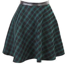 Karla Green Tartan Skater Skirt With PU ($12) ❤ liked on Polyvore