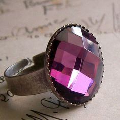 Cocktail ring with purple glass jewel, CoupdecoeurJewelry, $14