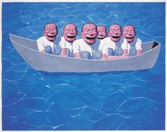 Yue Minjun and the Symbolic Smile - The New York Times > Arts > Slide Show > Slide 7 of 9 Chinese Painting, Chinese Art, Wall Street, Cynical Realism, Bon Appetit, Yue Minjun, Oil On Canvas, Canvas Art, Boat Humor