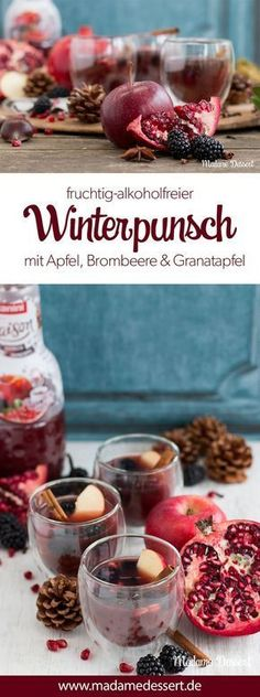 Wintry heart warmer - My alcohol-free punch with apple, blackberry & pomegranate combines the best of winter berries and Christmas spices. The recipe is perfect for Christmas, Christmas Eve and Advent. This fruity, spicy children's punch with Summer Drink Recipes, Drinks Alcohol Recipes, Summer Drinks, Winter Drink, Winter Food, Non Alcoholic Punch, Blueberry Lemonade, Grenade, Homemade Spices
