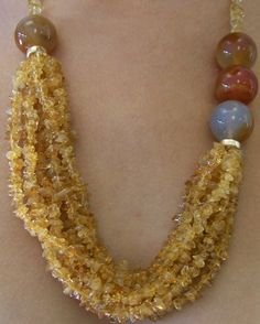 Carnelian Necklace w/ citrine chips 14K G, 22L 489.00. Have some nice large stones at home like these.