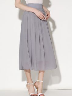 Grey Elastic Waist Chiffon Pleated Skirt 15.00