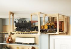 Maybe at a corner of the room? Nursery, Little Boy & Toddler Boy Room Ideas with Building & Train Themes Train Theme Bedrooms, Train Bedroom, Bedroom Themes, Kids Bedroom, Bedroom Ideas, Boys Train Room, Little Boys Rooms, Room To Grow, New Room