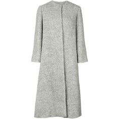 Emilia Wickstead long flared coat ($3,470) ❤ liked on Polyvore featuring outerwear, coats, grey, flared coat, long coat, flare coat, long grey coat and gray coat
